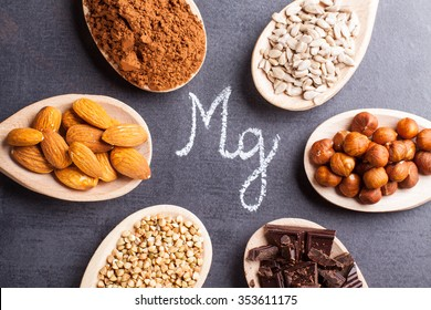 Products rich in magnesium on wooden spoon.