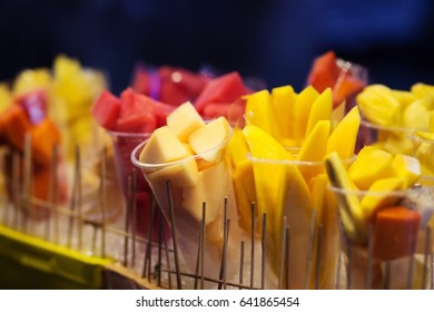 Products for sale.Peeled fruit Ready to eat in the night market.