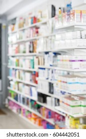 Products In Shelves At Pharmacy