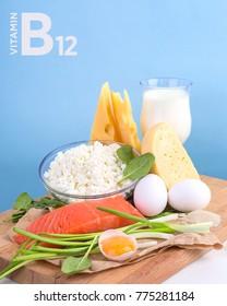 Products Vitamin B12 (cobalamin). Healthy eating