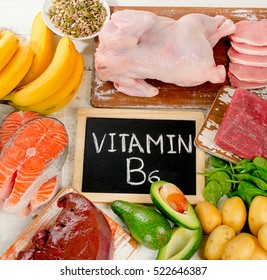 Products with Vitamin B6. Healthy food concept. Top view