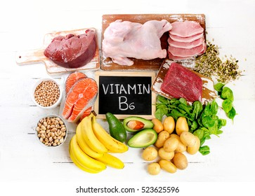 Products with Vitamin B6. Healthy food concept. Flat lay