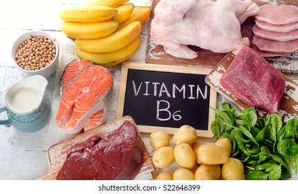 Products with Vitamin B6(Pyridoxine). Healthy food. Top view