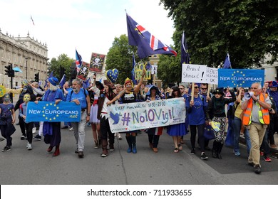 Pro-EU demonstrators march down Whitehall, central London, during the People's March for Europe, on 9 September 2017