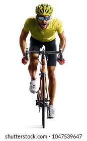 Professinal road bicycle racer isolated in motion on white