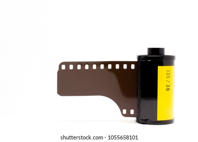 Professional 135 color negative film close up, isolated on white background.