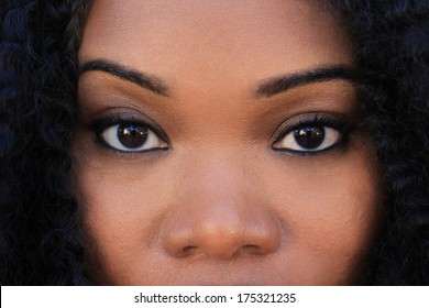 Professional African American Business Woman Smiling Looking At Camera Eyes Artistic