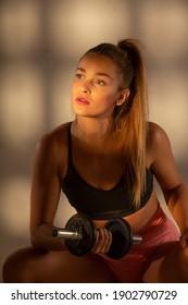 Professional athlete. Fitness. Studio session