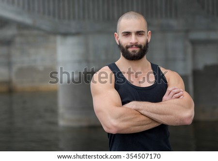 Muscular Athlete Playing With Himself