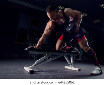 Professional athlete in the gym pulls the dumbbells to the stomach