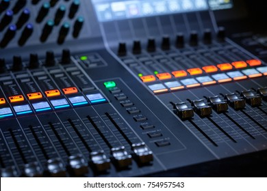 Professional audio sound mixer with buttons and sliders
