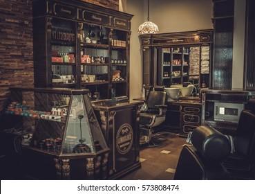 Professional barber shop vintage interior