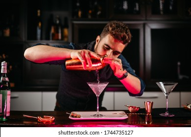Professional bartender preparing martini with olives at bar counter.  Dry vodka martini, gin tonic cocktail served in restaurant, pub and bar. Long drink cocktail concept