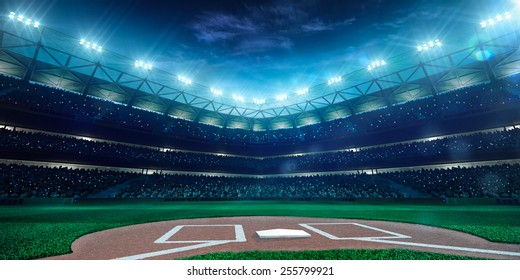 Baseball stadium lights imgenes pagas y sin cargo y vectores en professional baseball grand arena in the night malvernweather Image collections