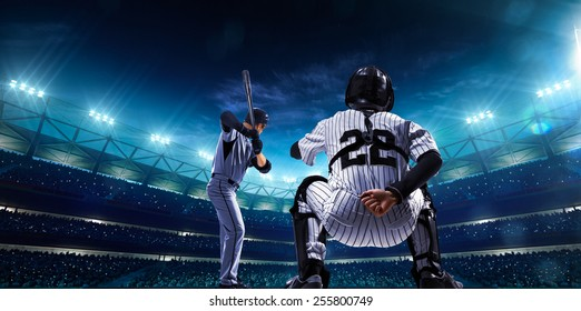 Professional baseball players on the grand arena in night