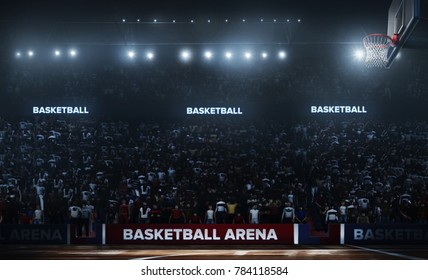Professional basketball arena in 3D.