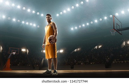 Professional basketball player on court ready for game