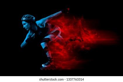 Professional beautiful woman roller skating. Fire start