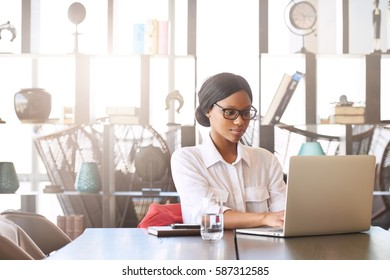 Professional black entrepreneur and businesswoman busy working on her laptop computer while seated at the head of the conference table in the business lounge.