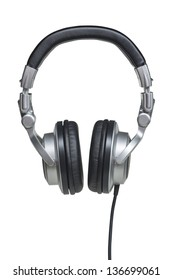 Professional black and silver stereo headphones isolated over white with clipping path