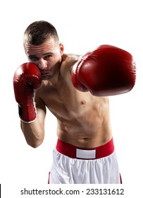 professional boxer are fighthing isolated in white