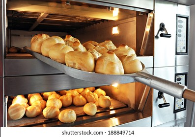 professional bread making oven with bread loaf cooking.
