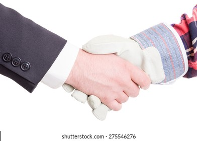 Professional builder wearing gloves and elegant suited business contractor hand shake