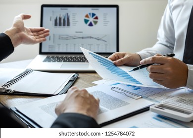 Professional Business colleague team working and analyzing with new project of accounting finance, Idea presentation and meeting strategy plan of financial business investment.