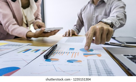 Professional Business partner discussing ideas plan and presentation project at meeting working and analysis at workspace office, financial and investment concept.