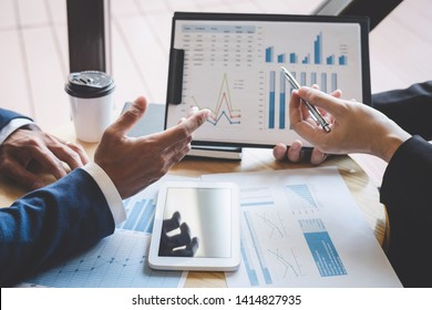 Professional Business partner team discussing on meeting to presentation planning investment project working analyzing and strategy of business making conversation with partner company.