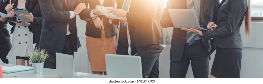 Professional Business People Discussion in office Organization, Group of Business Team Meeting Office Workplace, Event Management of the Investment. Market Trends, Asian Business Finance Corporate.