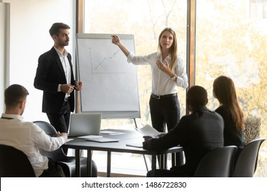 Professional business speakers team give flip chart presentation at conference meeting in office, male and female presenters coaches work in teamwork training staff group at corporate workshop event