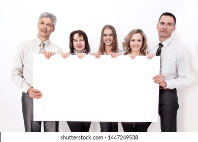professional business team with big blank poster