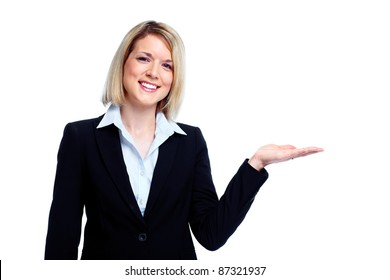 Professional business woman showing copyspace. Presentation. Isolated over white background.