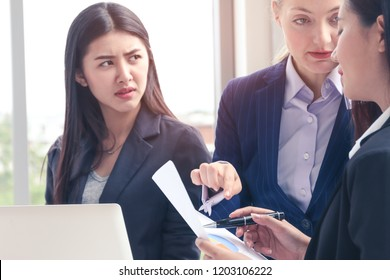 Professional Business women or people or office lady standing and meeting with paper report in office room