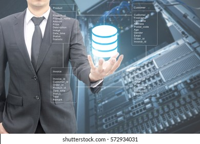 Professional businessman connecting network and database on hand in technology, communication and business concept