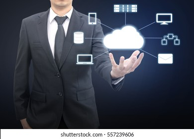 Professional businessman connecting network on hand in Cloud technology, communication and business concept