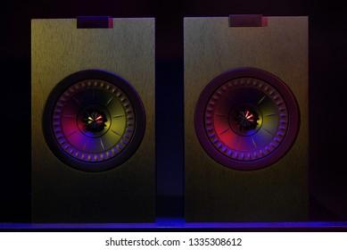 Professional cabinet hifi loudspeaker system on black background