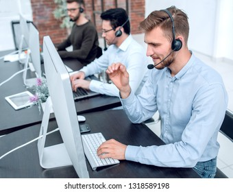 professional call center operators communicate with customers