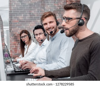 professional call center staff in the workplace