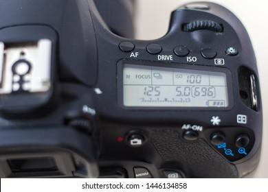 Professional camera, top view. Camera settings, display, shutter speed, light sensitivity, aperture