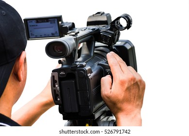 professional cameraman - covering on event with a video  - with white background