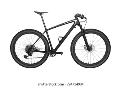 Professional carbon mountain bike, isolated on white background