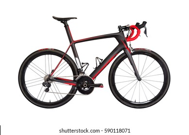 Bicicleta profesional de carrera de carbono aislada en fondo blanco