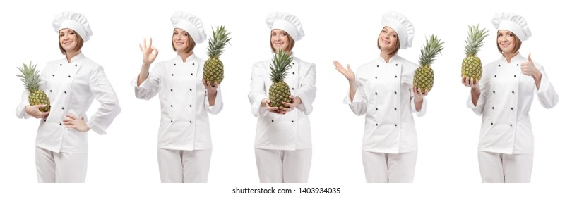 professional chef with fruit pineapple isolated on white studio background. collage with smiling cook holding food. vegetarian, dieting and cooking concept