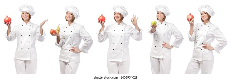 professional chef with fruits isolated on white studio background. collage with smiling cook holding food. vegetarian, dieting and cooking concept