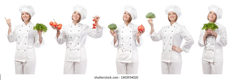 professional chef with fruits and vegetables isolated on white studio background. collage with smiling cook holding food. vegetarian, dieting and cooking concept
