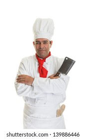 A  professional chef with a meat cleaver on white.
