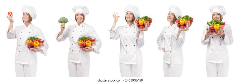 professional chef with vegetables isolated on white studio background. collage with smiling cook holding food. vegetarian, dieting and cooking concept