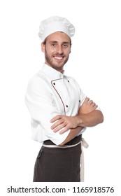 Professional chef wearing uniform on white background